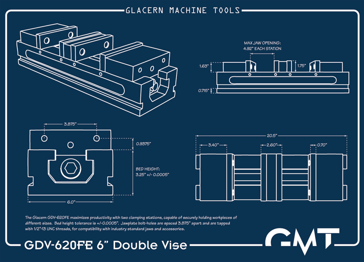 Glacern Machine Tools Gdv 620fe Double Vise