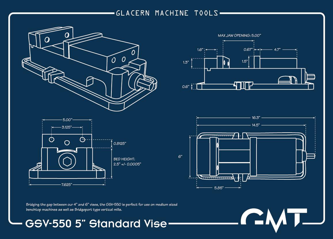 Glacern machine tools gsv 550 5 inch standard vise for Blueprint sizes